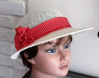Hat Cap summer straw ivory paper, red headband with polka dots
