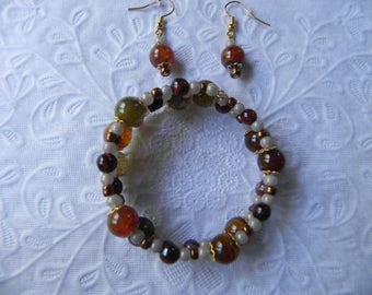 Yellow dragon vein agate and tiger eye coil bracelet with earrings