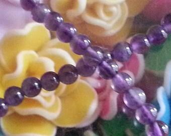 10 Amethyst beads in 4mm in diameter, hole 1 mm