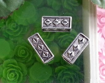 5 Tibetan style, lead and cadmium and nickel free, cuboid beads antique silver, size: approximately 15 mm long.