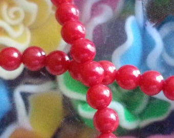10 4 mm red genuine coral beads, 1 mm hole