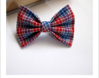 """hair bow """"clip - me"""" blue and Red Plaid"""