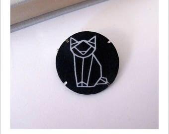 "Fabric brooch, fabric badge cat skewers""me"""