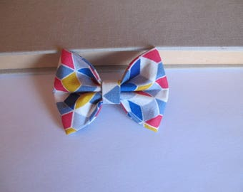 "hair bow ""clip - me"" geometric pattern"