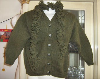 Hand knitted mixed matching scarf and vest