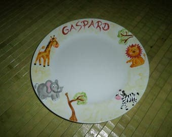 """painted plate personalized with name """"Africa"""""""