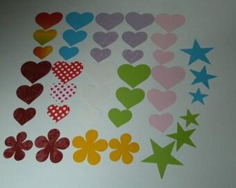 Set no. 1 Noémie paper Cartonne hearts stars flowers cut-outs