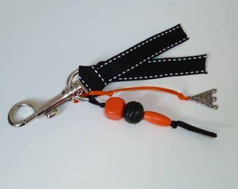 Bag charm: carabiner Keychain: orange and black decoration