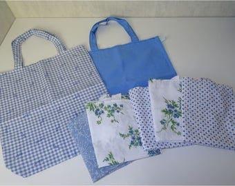 Lot de 7 sacs en tissu recyclé, façon tote bag, thème BLEU