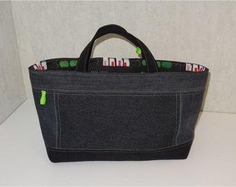 """Sac Cabanel réversible : jean noir recyclé-  doublé coton noir motifs """"Compter sur tableau noir"""""""