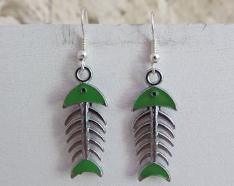 Green fish skeleton earrings