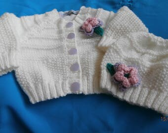 Baby Girl hand knitted jacket & hat, hand knitted baby clothes