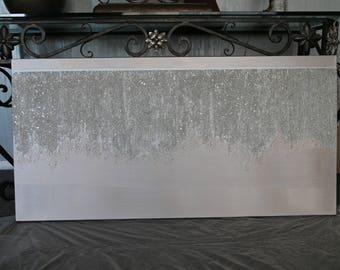 Painting,Glitter, Large abstract painting, Modern wall art, Textured, ORIGINAL, glass beads, sparkly, 48 x 24 x 1.5