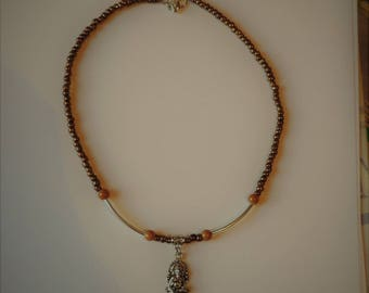 Brown rock with Ganesh pendant necklace