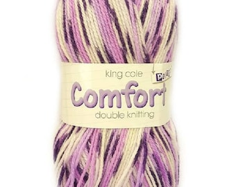 DK Comfort Double Knit Prints variegated King Cole Wool Yarn Knitting Crochet 100g