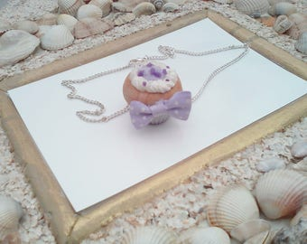 greed in polymer clay cupcake necklace