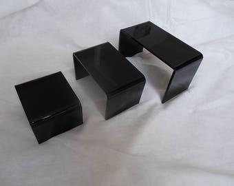 1 set of 3 jewelry 3 arches black plexiglass displays