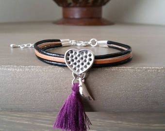 Leather Bracelet with charm and purple tassel