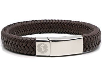 Brown Medical Alert ID SOS Bracelet with Soft Waterproof Leather - Personalised - Any Engraving on Front and Back -  17 19 21 23cm