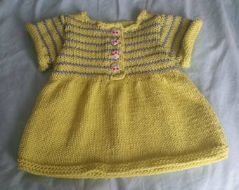 Small 3 months hand knitted cotton dress