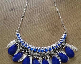 Very nice dark blue and silver bib necklace