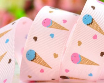 Pink 9 mm grosgrain Ribbon blade with ice pattern cones