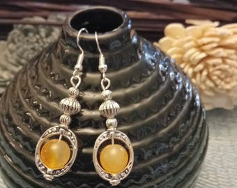 """""""Ethnic"""" buckles and hooks orange jade beads 925 sterling silver"""