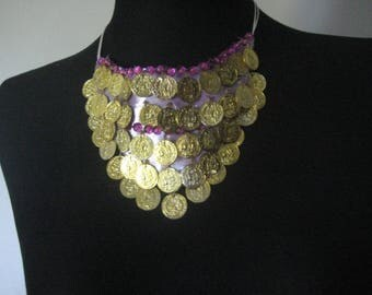 04 necklace covered with Metal Rose Gold sequins
