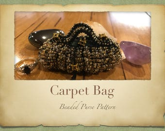 Carpet Bag Beaded Purse PATTERN ONLY Size 11 Seed Beads Knitted Minature Bag for Tooth Fairys Crystals Jewlery or a Perfume Pouch