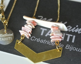 """""""Gold filled 18K"""" arrow graphic and pink coral necklace chain"""