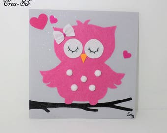 "Painting ""OWL"" shades rose gray felt"