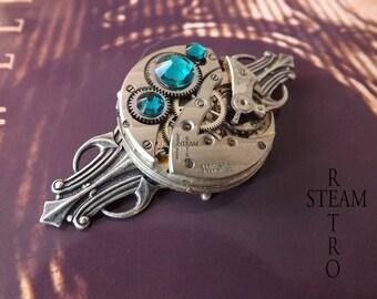Blue Zircon Retro Steampunk brooch