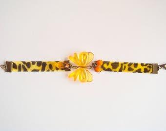 orange velvet bow safari Ribbon Bracelet