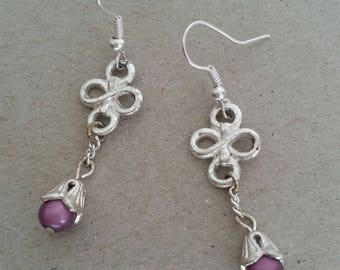 Silver plated Chinese knots, pink miracle beads earrings
