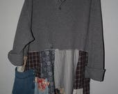Plus size Upcycled Country Rustic Tunic, Bohemian Hippy Look XL