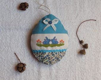 Door cushion Easter egg hanging embroidery rabbits cross stitch embroidery