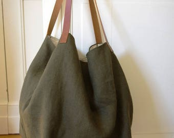 bag khaki lined white - OOAK