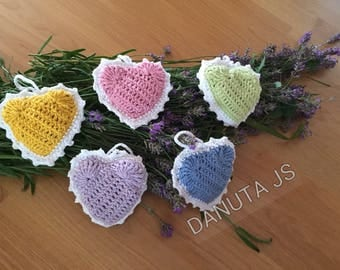 Lavender crocheted hearts