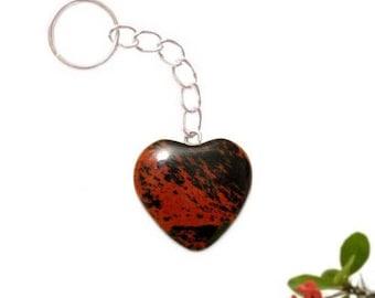 Keychain heart silver plated - mahogany (mahogany) Obsidian