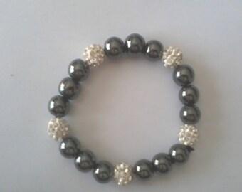 grey and white rhinestone beaded bracelet