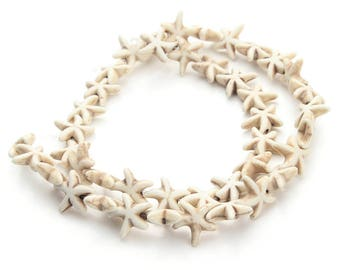 Pearl stone 13 * 13 mm white turquoise star fish set of 5 pieces