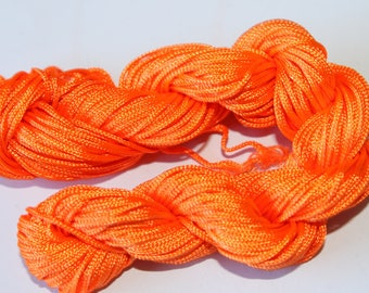 Nylon thread 1 mm in diameter, orange fluorine, 25 meter
