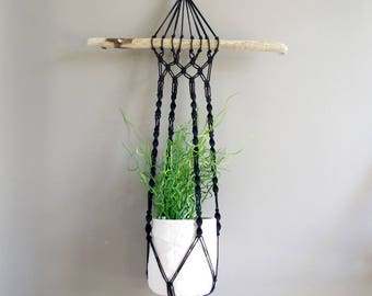 Hanging black macrame and Driftwood for plant