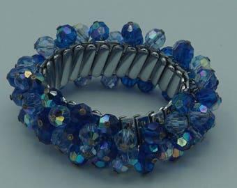 Vintage Blue Aurora Borealis Crystal Bead Expansion Bracelet