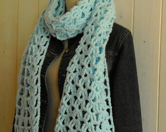 Light blue soft and thick wool scarf crocheted by hand