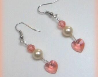 SMALL heart earrings peach Bo149