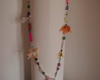charleston necklace, very colorful, hodgepodge: a beautiful unique necklace flower print.