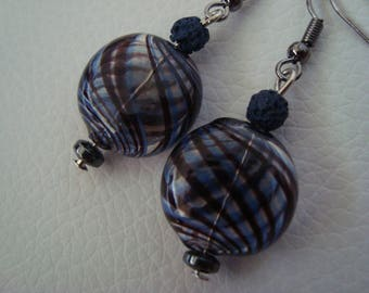 Earrings blown glass, with inlaid large spirals and basalt blue beads
