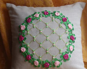 Pillow with roses Decorative pillow Silk ribbon embroidery Ornaments Roses Embroidered pillow