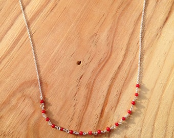 Nena - 925 sterling silver necklace and coral
